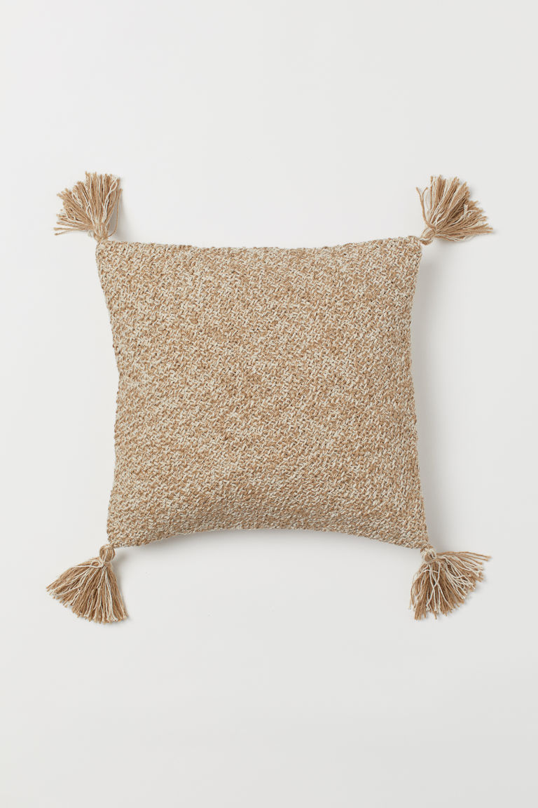 Tasselled cushion cover 40x40 - Beige - Home All | H&M GB