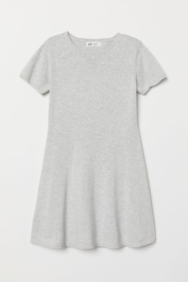 Dress with beads - Light grey marl - Kids | H&M
