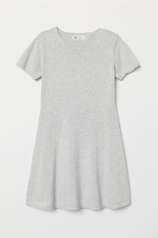 8988864fdd45 Kjole med perler - Lys gråmelert - BARN