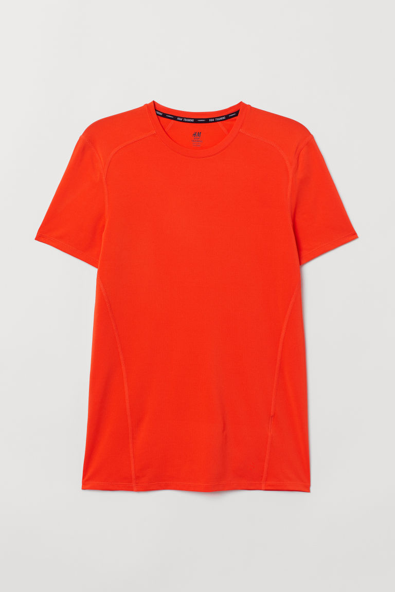 Short-sleeved sports top - Orange - Men | H&M