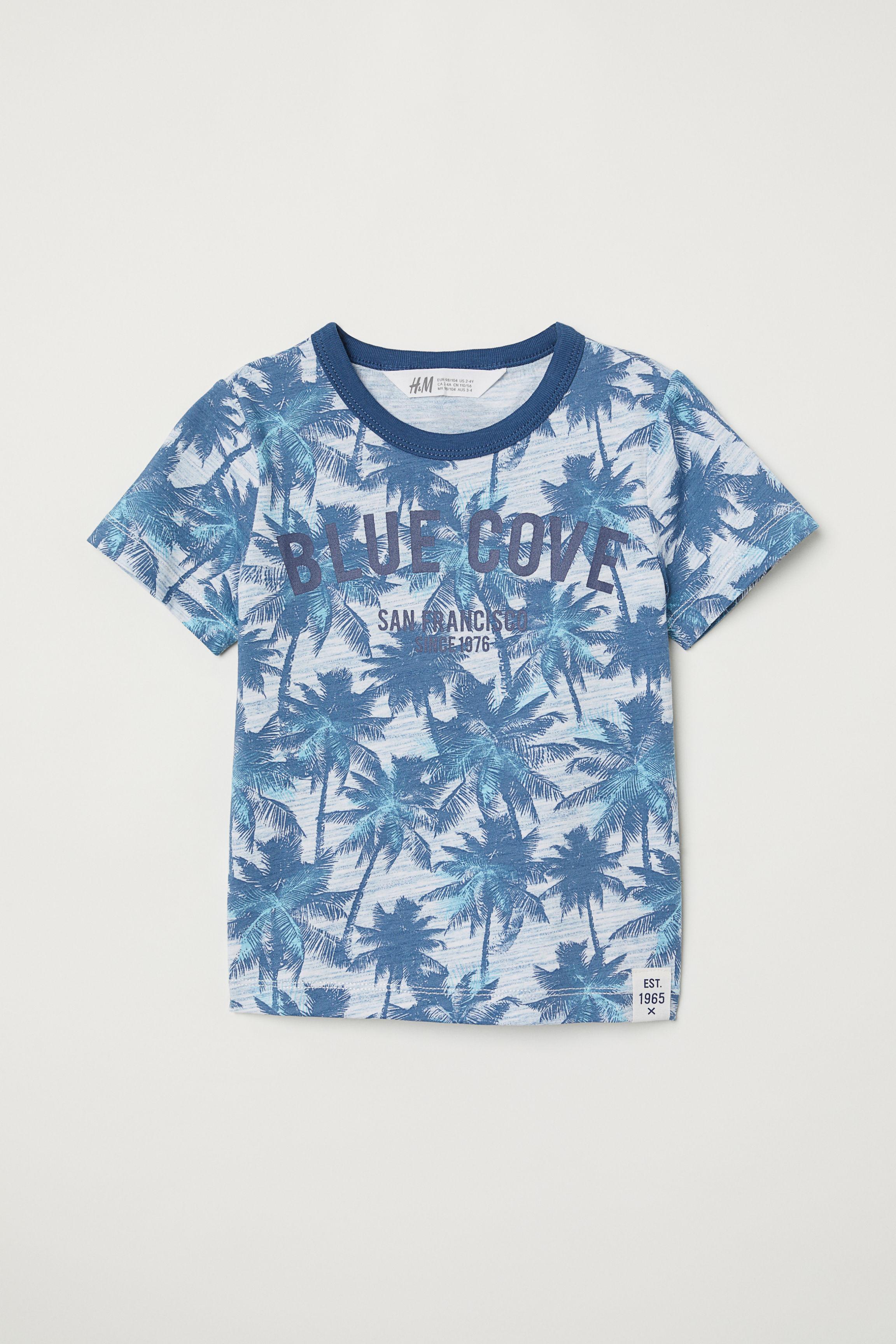 1ee16f246af7 T-shirt with Printed Design - Blue/batik patterned - Kids   H&M US