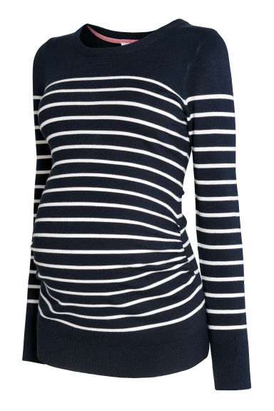 MAMA Fine-knit jumper - Dark blue/Striped - Ladies | H&M