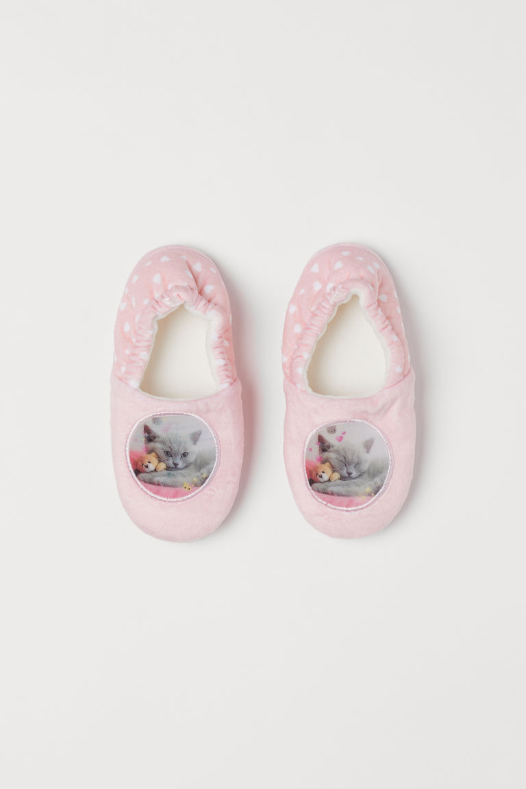 Lenticular-print slippers - Light pink/Cat - Kids | H&M CN