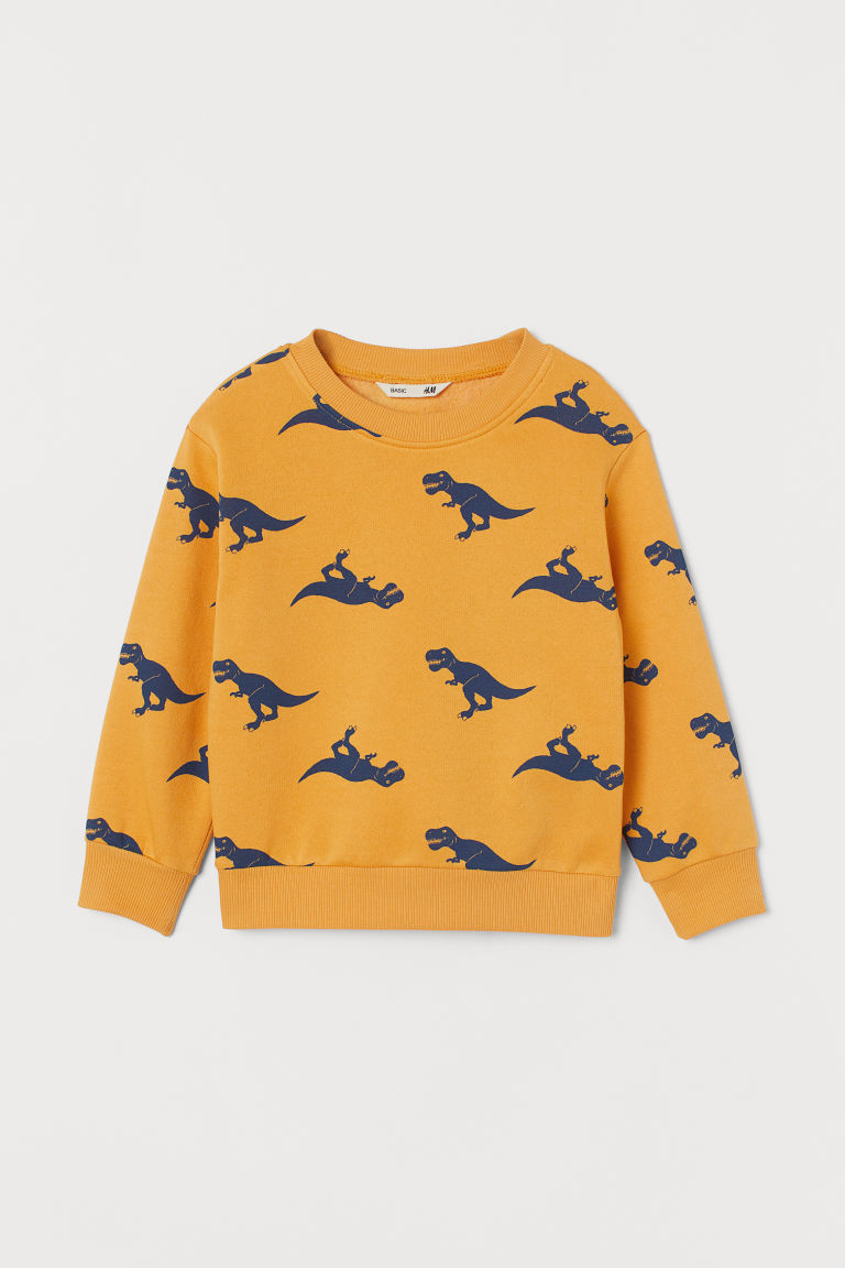 Sweatshirt - Yellow/Dinosaurs - Kids | H&M IE