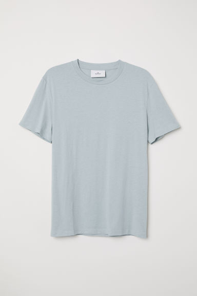 Cotton and silk T-shirt - Light turquoise - Men | H&M