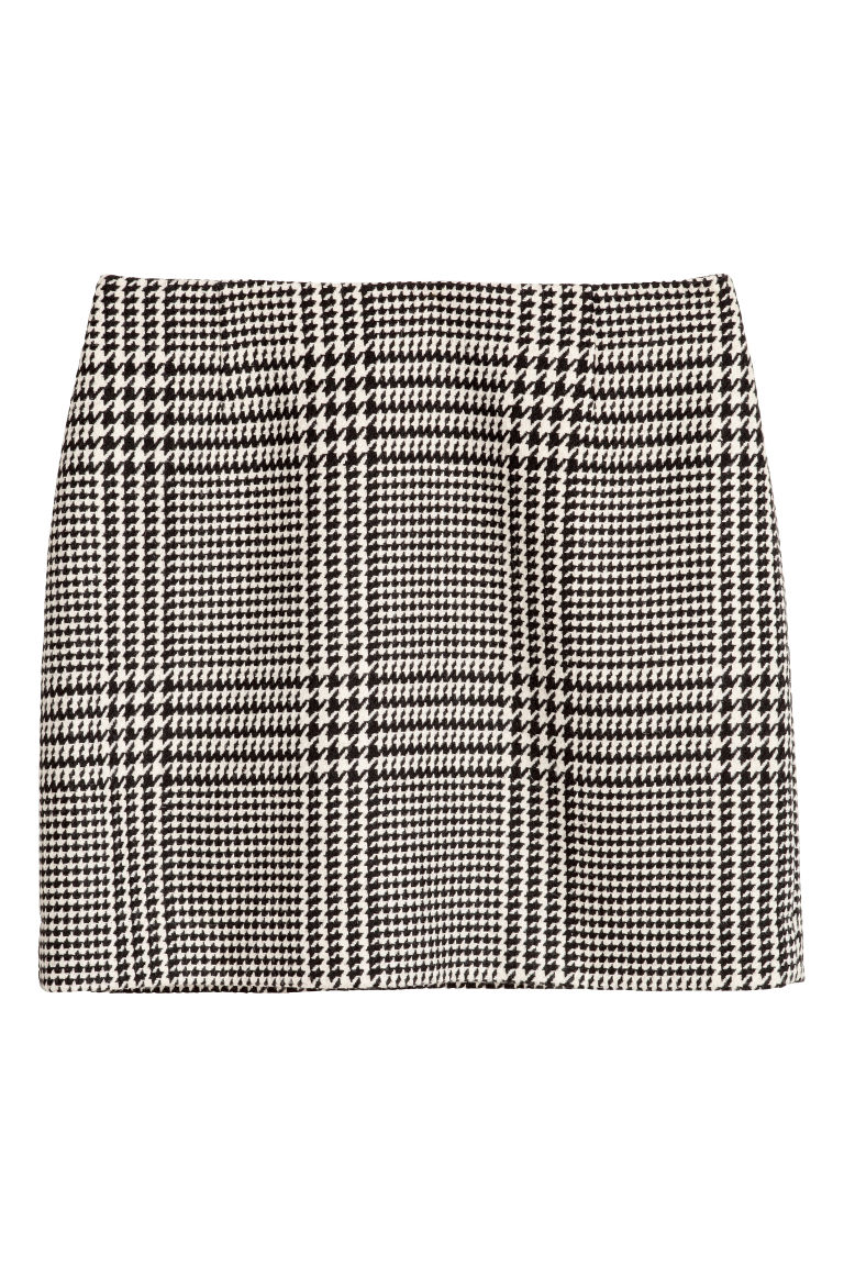 Jacquard-weave skirt - Natural white/Dogtooth - Ladies | H&M GB