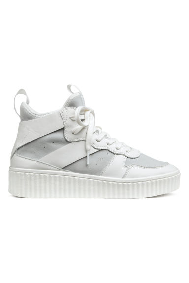 Leather and suede hi-tops - White -  | H&M IE