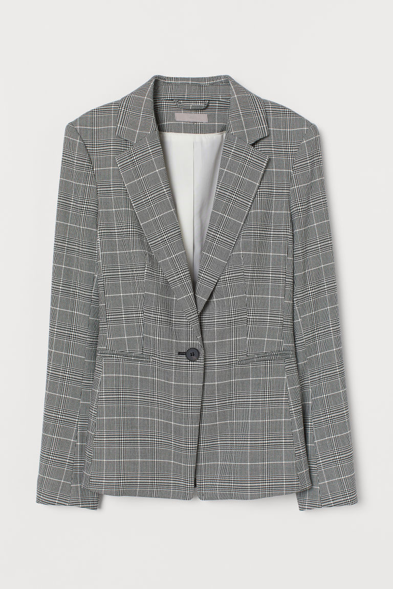 Single-breasted jacket - Grey/Checked - Ladies | H&M IN