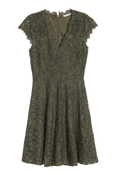 Lace dress - Dark green - Ladies | H&M CN