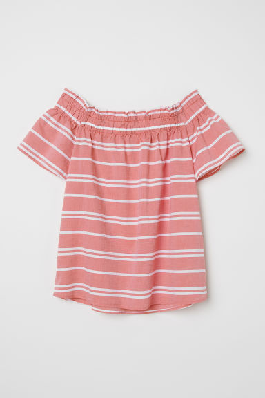 Off-the-shoulder blouse - Red/White striped - Ladies | H&M