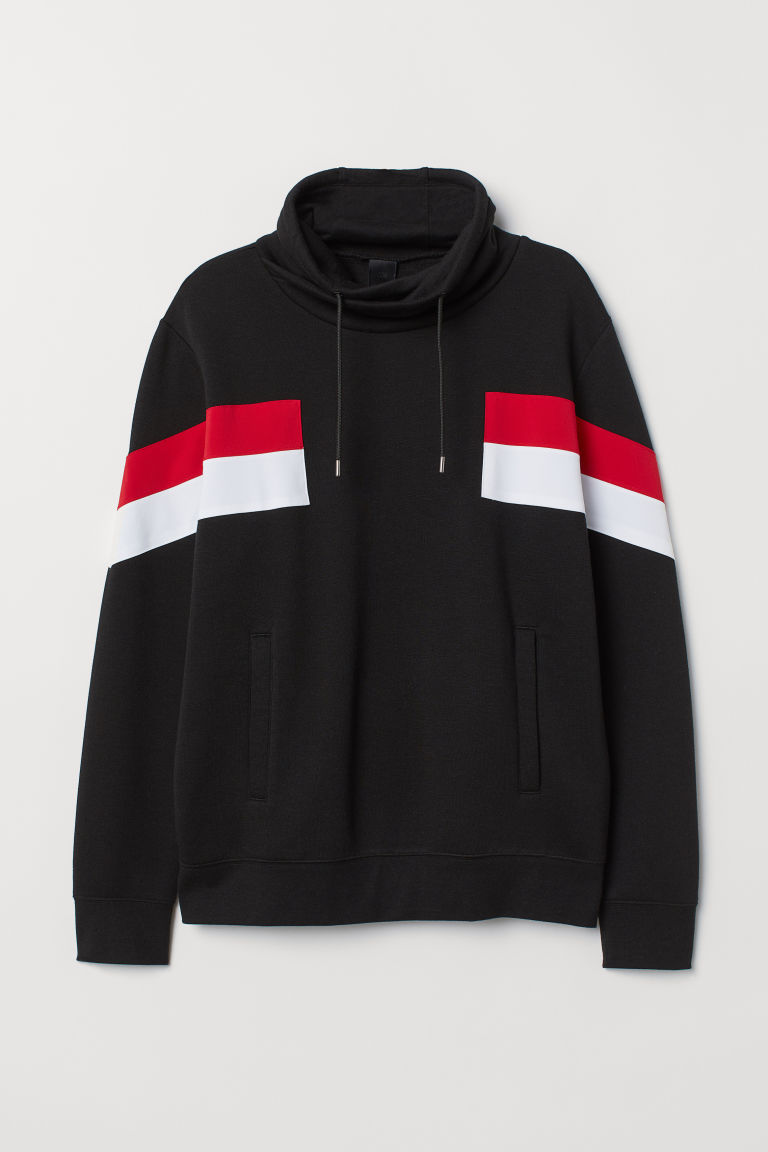 Funnel-collar sweatshirt - Black/Red - Men | H&M
