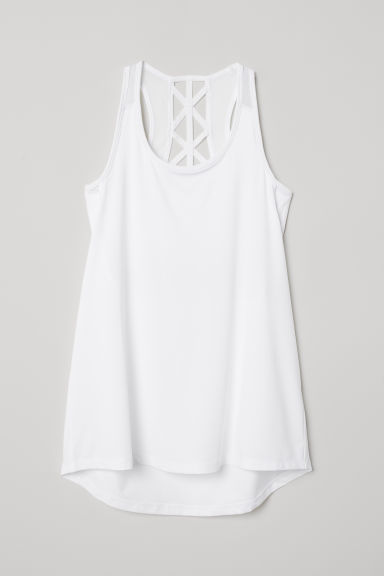 Sports top with sports bra - White - Ladies | H&M