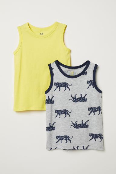 2-pack vest tops - Light grey/Tiger - Kids | H&M