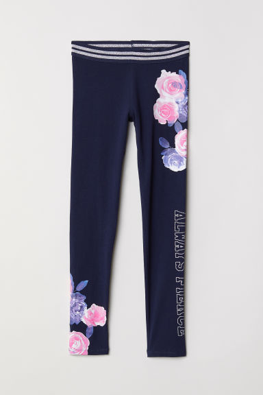 Leggings in jersey con stampa - Blu scuro - BAMBINO | H&M IT
