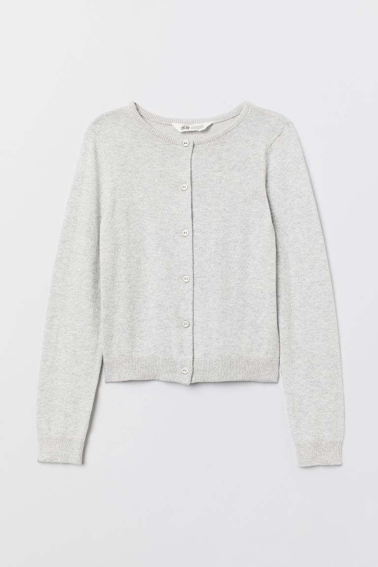 Fine-knit cardigan - Light grey marl - Kids | H&M CN