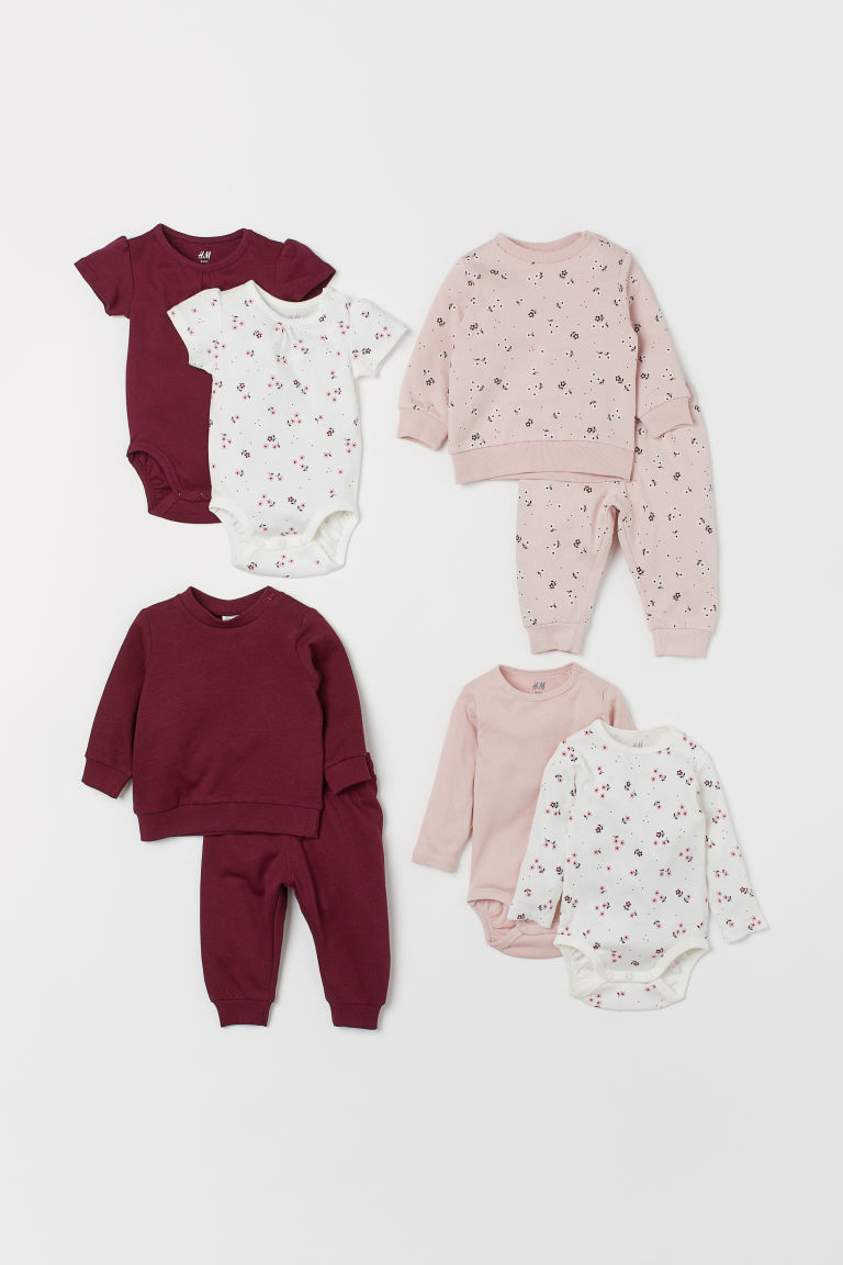 8-piece Cotton Set - Light pink/floral -  | H&M US