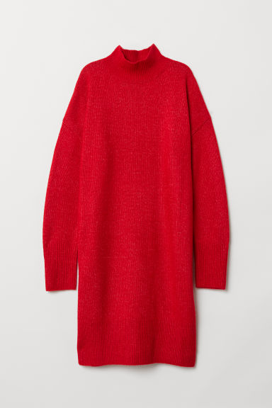 Knitted dress - Bright red - Ladies | H&M GB