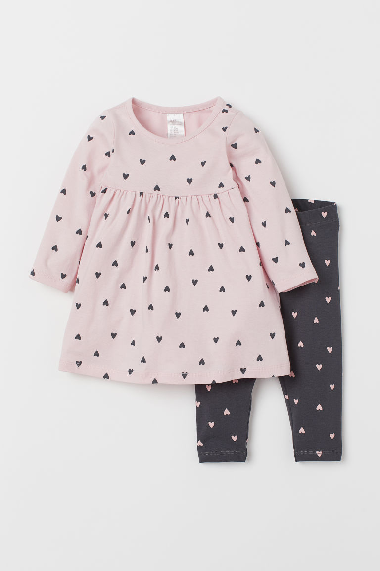 Jersey dress and leggings - Dark grey/Hearts -  | H&M IN