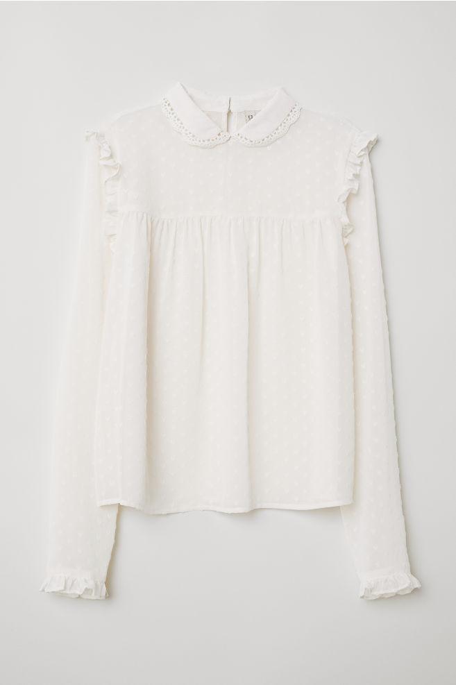 73779dee09489f Chiffon Blouse - White - Ladies   H&M ...