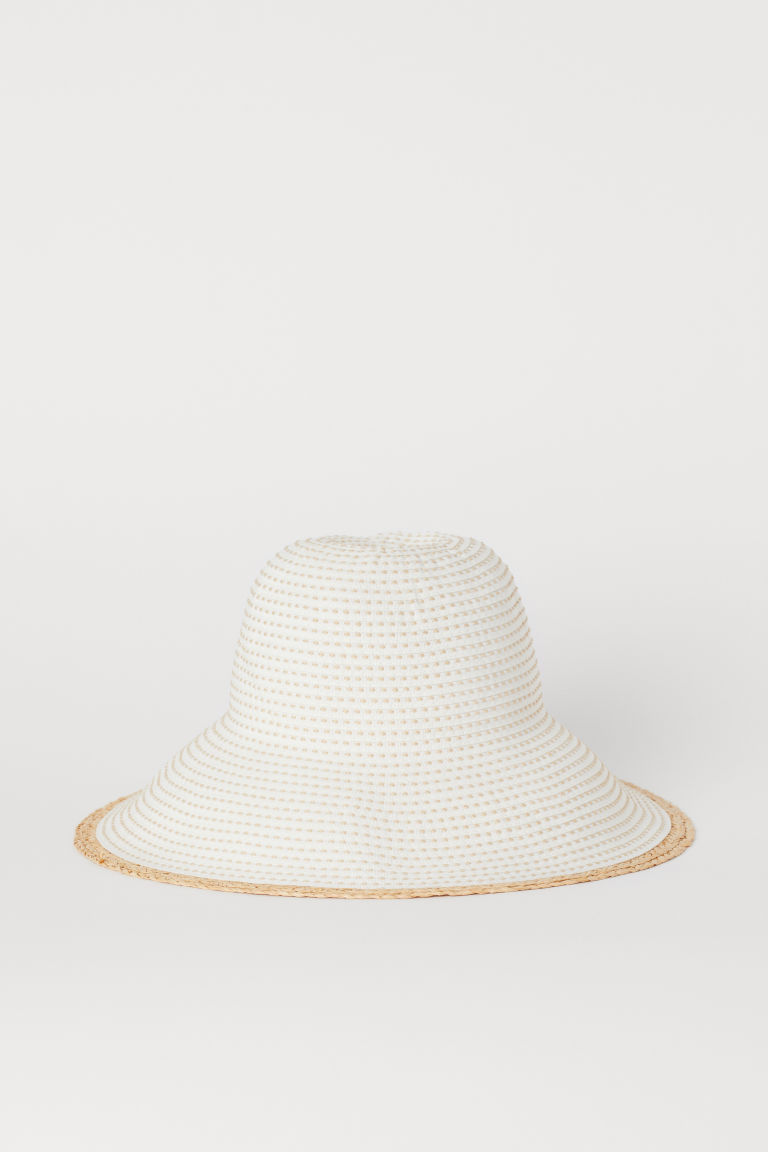 Sun hat with straw detail - White/Patterned - Ladies | H&M IE