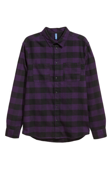 Flannel shirt - Purple/Black checked - Men | H&M GB