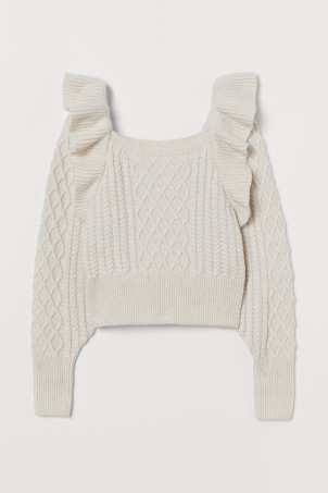 Cable-knit flounced jumper