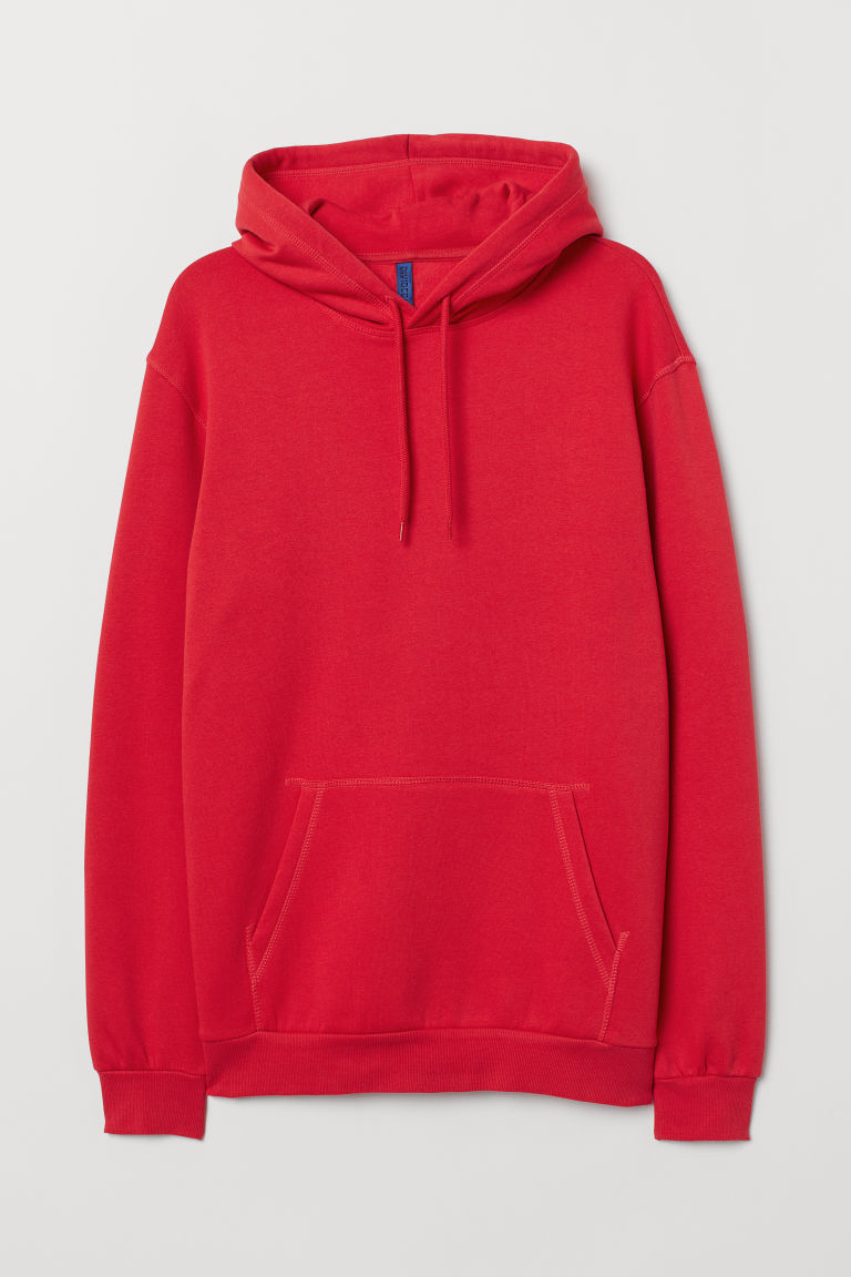 Hooded top - Bright red - Men | H&M