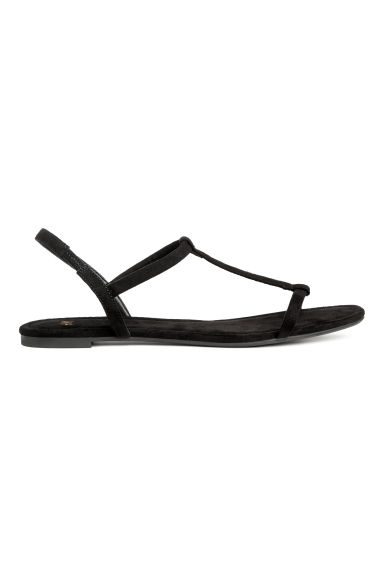 Sandals - Black/Imitation suede - Ladies | H&M CN