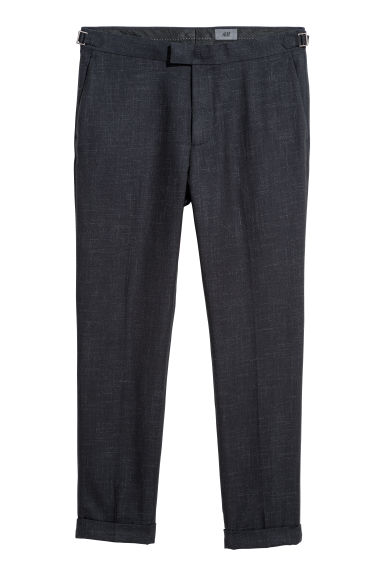 Cropped suit trousers Slim fit - Dark blue marl - Men | H&M CN