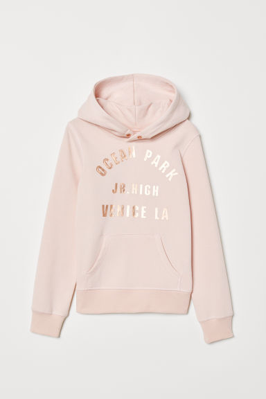 Hooded top with a motif - Light pink/Ocean Park - Kids | H&M
