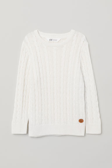 Cable-knit jumper - Natural white - Kids | H&M CN