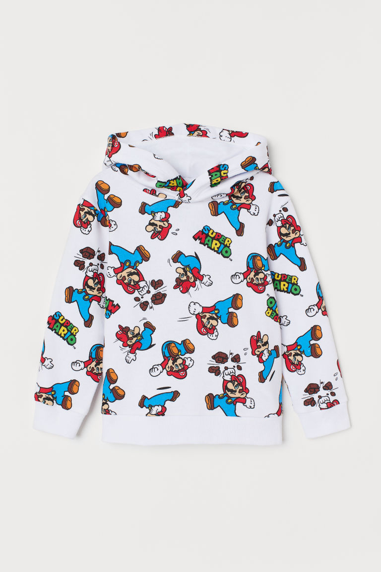 Sweat-shirt à capuche imprimé - Blanc/Super Mario - ENFANT | H&M BE