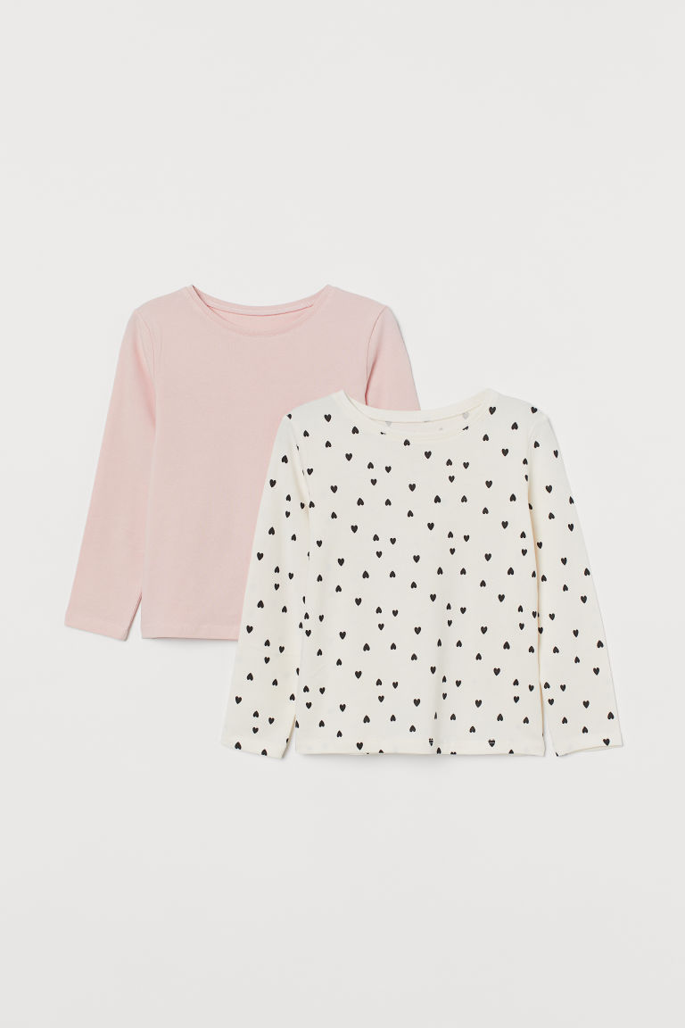 2-pack long-sleeved tops - Light pink/Hearts - Kids | H&M IN