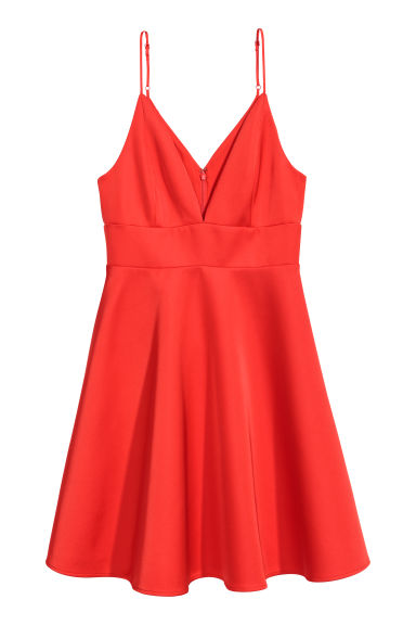Robe en satin - Rouge vif -  | H&M CA