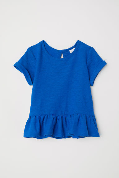 Linen-blend flounced top - Cornflower blue - Kids | H&M CN