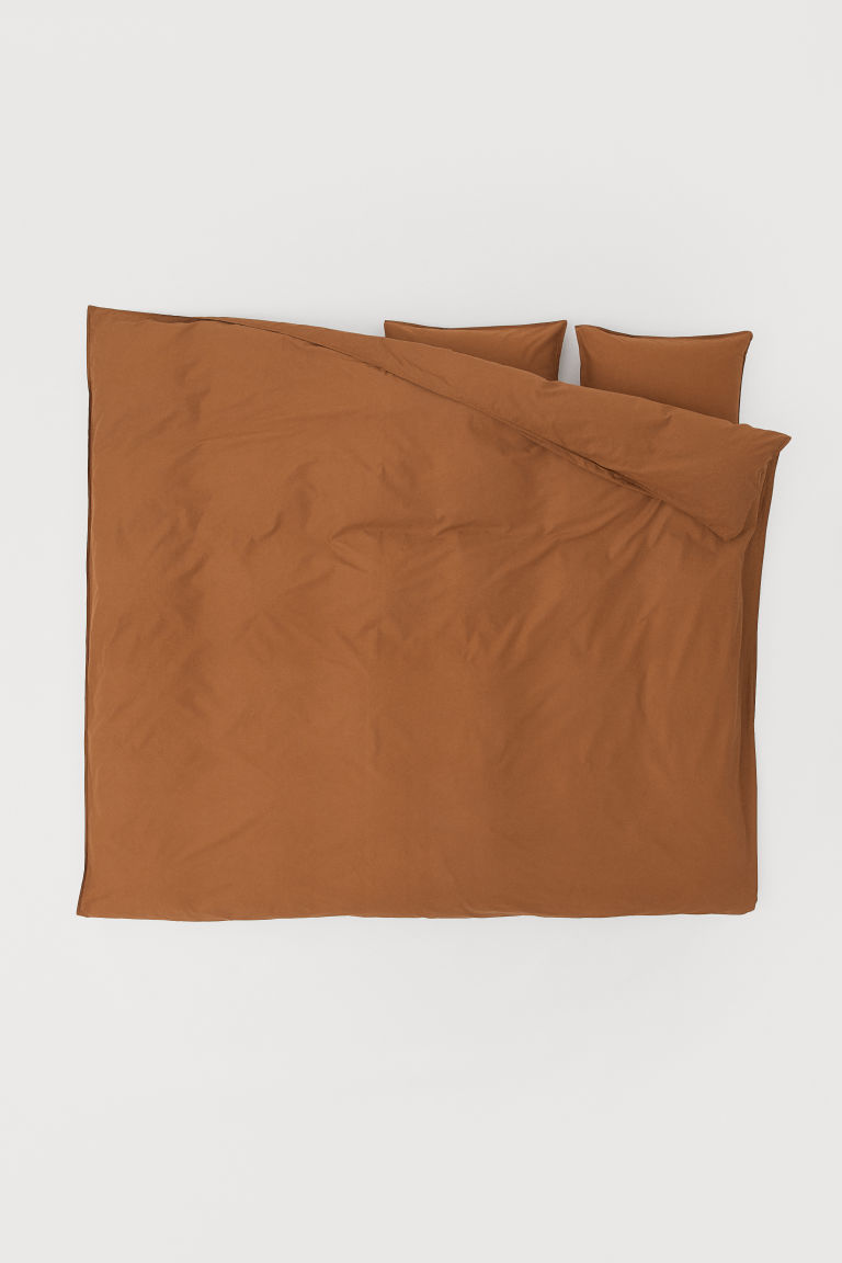 Washed cotton duvet cover set - Light brown - Home All | H&M CN