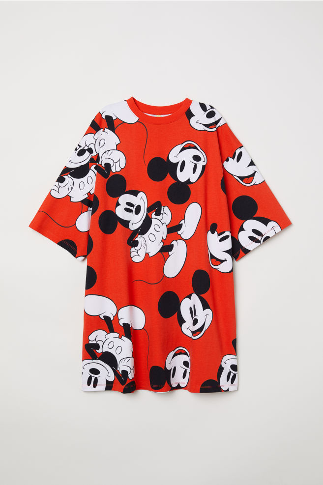 c2a652bf8 Wide-cut T-shirt Dress - Bright red/Mickey Mouse - Ladies   H&M US