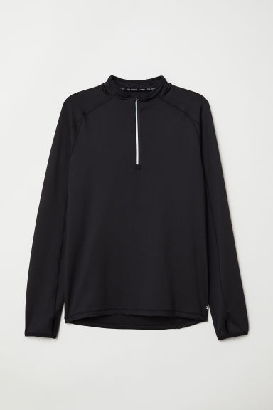 Running top with a collar - Black - Men | H&M CN