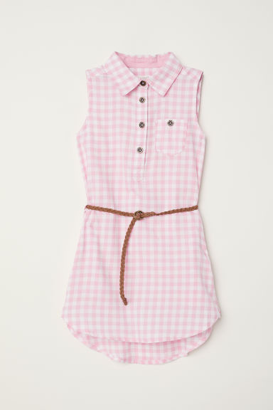 Sleeveless shirt dress - Pink/Checked - Kids | H&M CN