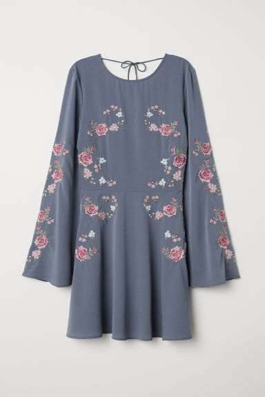 Embroidered dress - Pigeon blue/Flowers -  | H&M