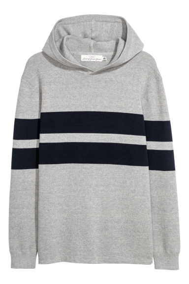 Fine-knit hooded jumper - Light grey/Dark blue -  | H&M CN