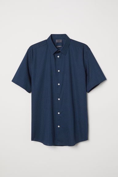 Cotton shirt Regular Fit - Dark blue/Spotted - Men | H&M CN
