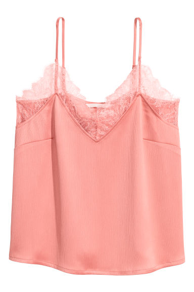 Crinkled strappy top - Coral -  | H&M