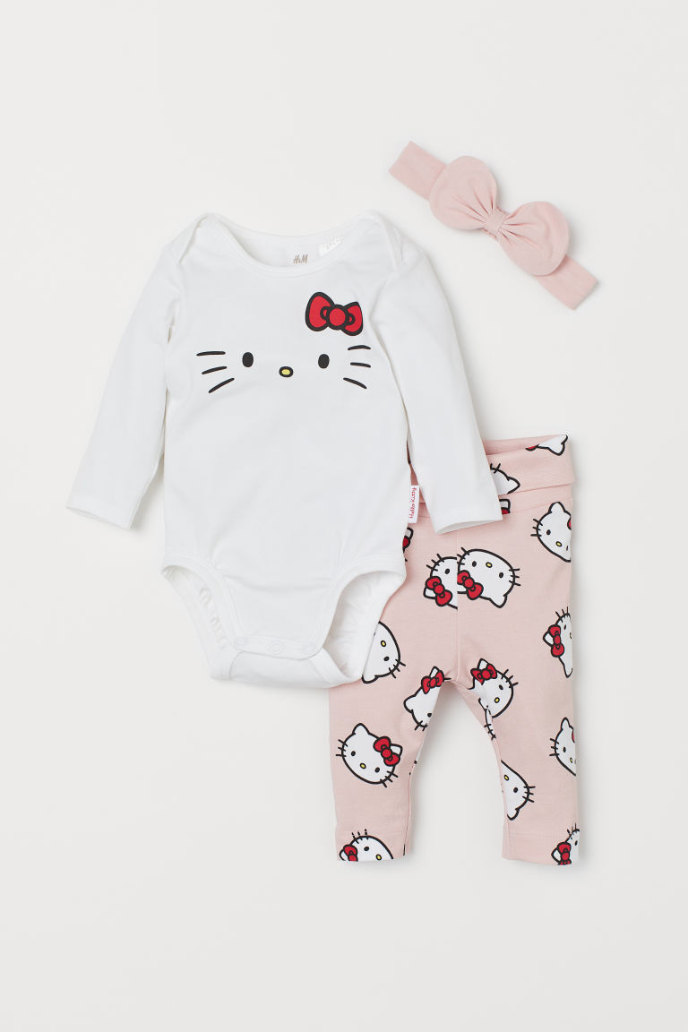 3-piece jersey set - Light pink/Hello Kitty - Kids | H&M