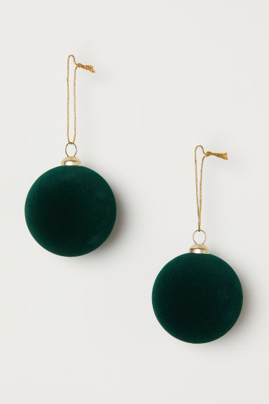 2-pack Christmas tree baubles - Dark green - Home All | H&M CN