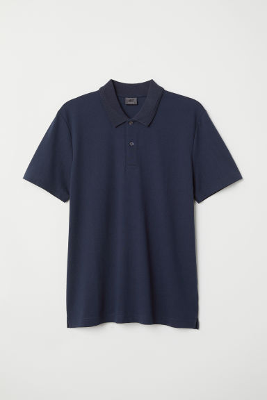 Premium cotton polo shirt - Dark blue/Textured - Men | H&M CN