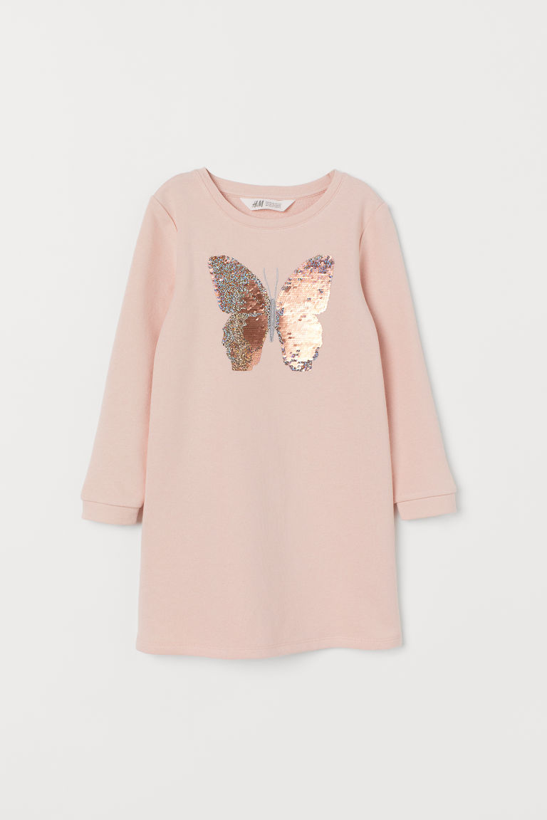 Dress with sequins - Light pink/Butterfly - Kids | H&M CN