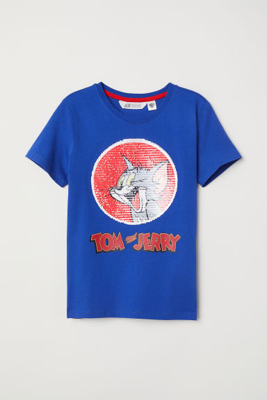 Reversible sequin T-shirt - Bright blue/Tom and Jerry - Kids | H&M CN