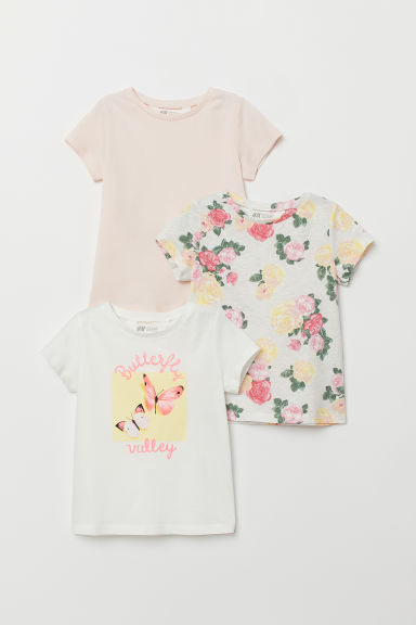 3-pack jersey tops - Light grey marl/Roses - Kids | H&M CN