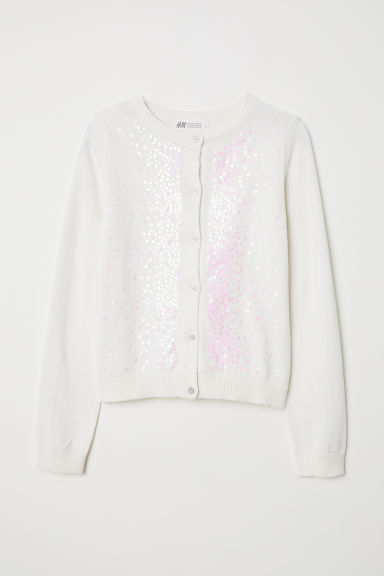 Cardigan with sequins - White/Shimmering - Kids | H&M